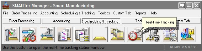 Real time shop floor data collection, Shop Floor Tracking Software Menu