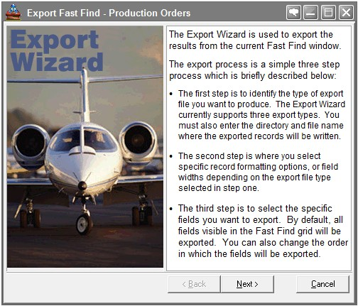 erp data import export wizard, Export wizard for manufacturing software